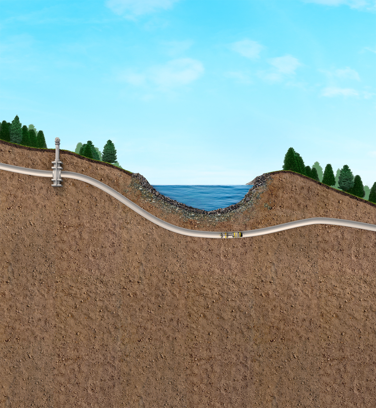 underground pipeline illustration